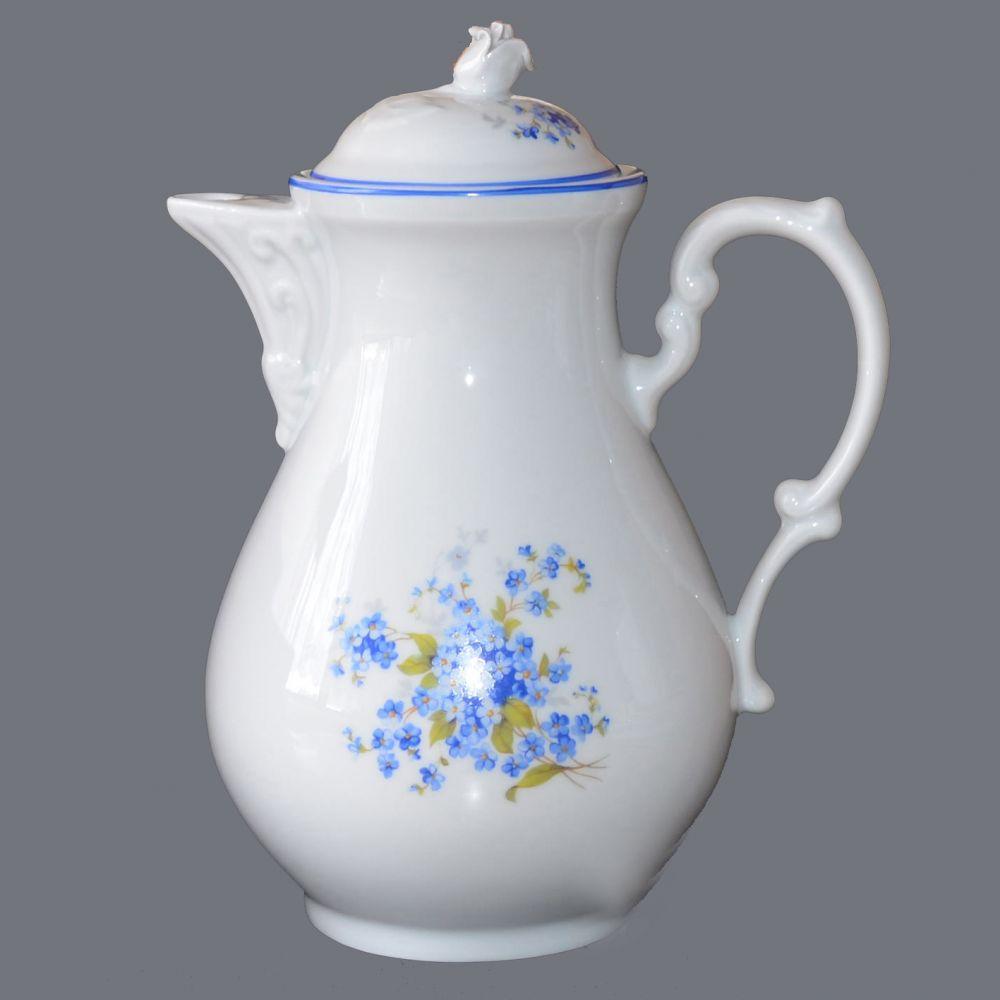 Konvice kávová 1,55 l modrá linka originální porcelán Dubí 1.jakost 70025 B 19065