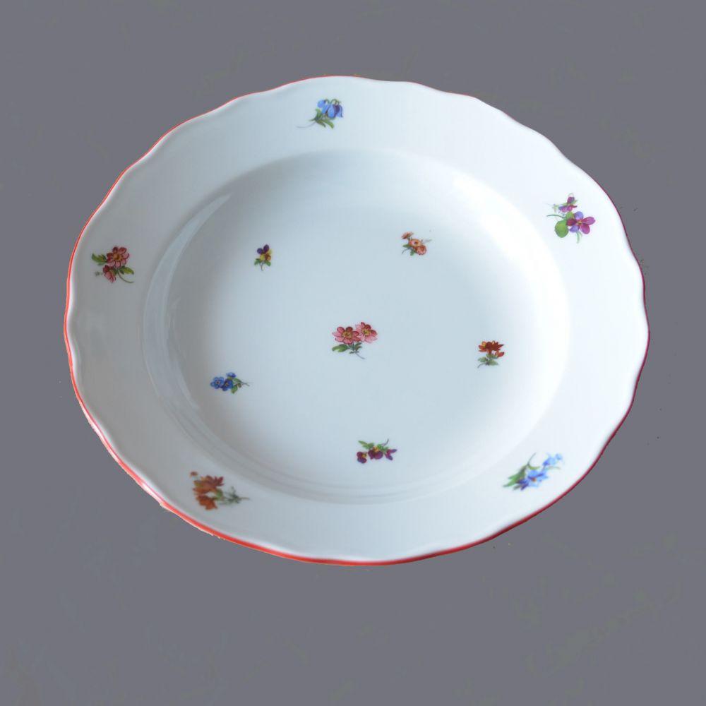 Mísa polévková oválná házenka Rakouská červená linka originální porcelán Dubí 1.jakost 70082 B 53013