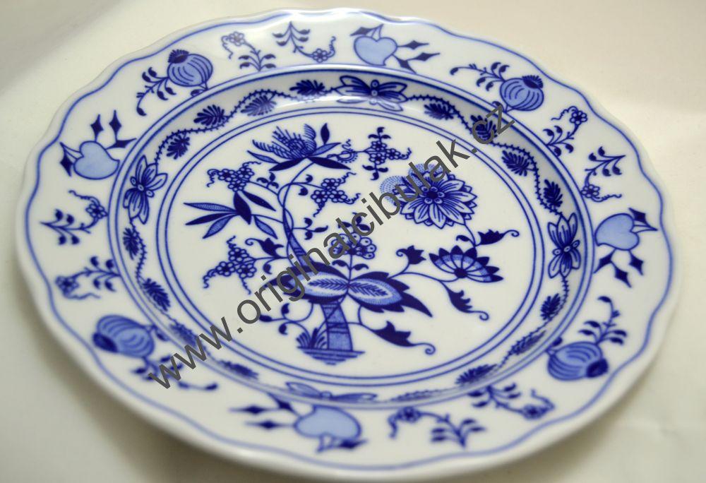 Talíř cibulák mělký 21cm originální cibulový porcelán Dubí