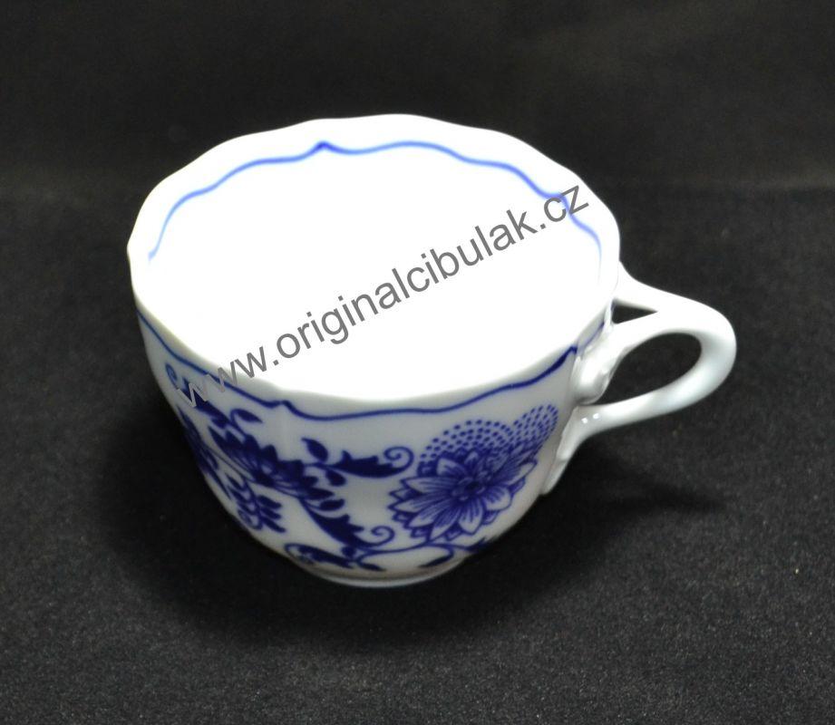 Cibulák šálek vysoký A, 0,08 l, originální cibulákový porcelán Dubí, cibulový vzor,