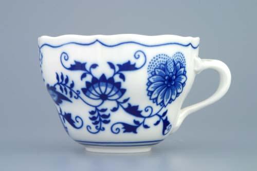 Cibulák šálek vysoký B, 0,20 l, originální cibulákový porcelán Dubí, cibulový vzor,