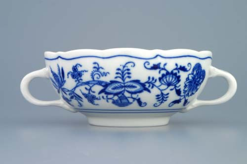 Cibulák šálek bujón s 2 oušky, 0,30 l, originální cibulákový porcelán Dubí, cibulový vzor,