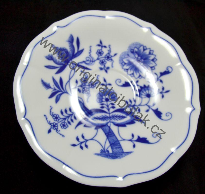 Cibulák podšálek zrcadlový nízký ZC/1, 15,5 cm, originální cibulákový porcelán Dubí, cibulový vzor,