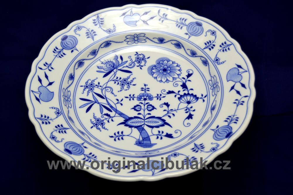 Cibulák mísa kulatá hluboká 34 cm originální cibulákový porcelán Dubí, cibulový vzor,