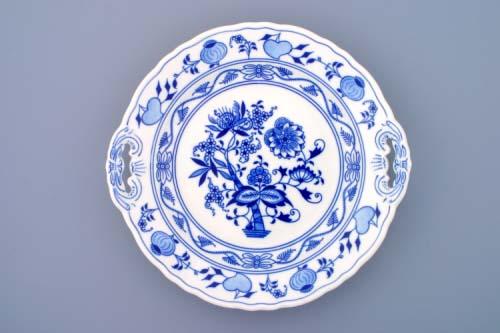 Cibulák talíř koláčový s uchy 28 cm originální cibulákový porcelán Dubí, cibulový vzor,