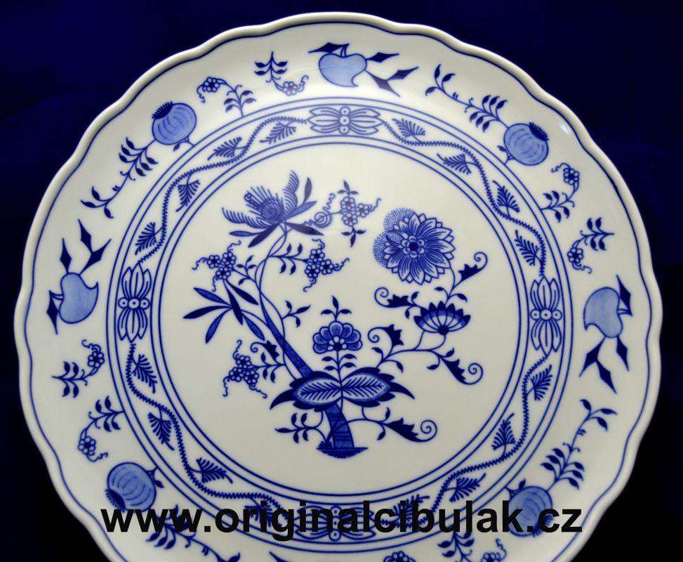 Cibulák talíř dortový 31 cm originální cibulákový porcelán Dubí, cibulový vzor,