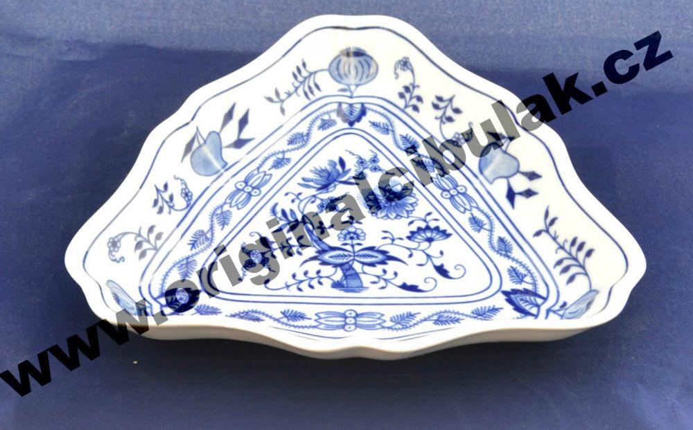Cibulák mísa salátová tříhranná 19,5 cm originální cibulákový porcelán Dubí, cibulový vzor,
