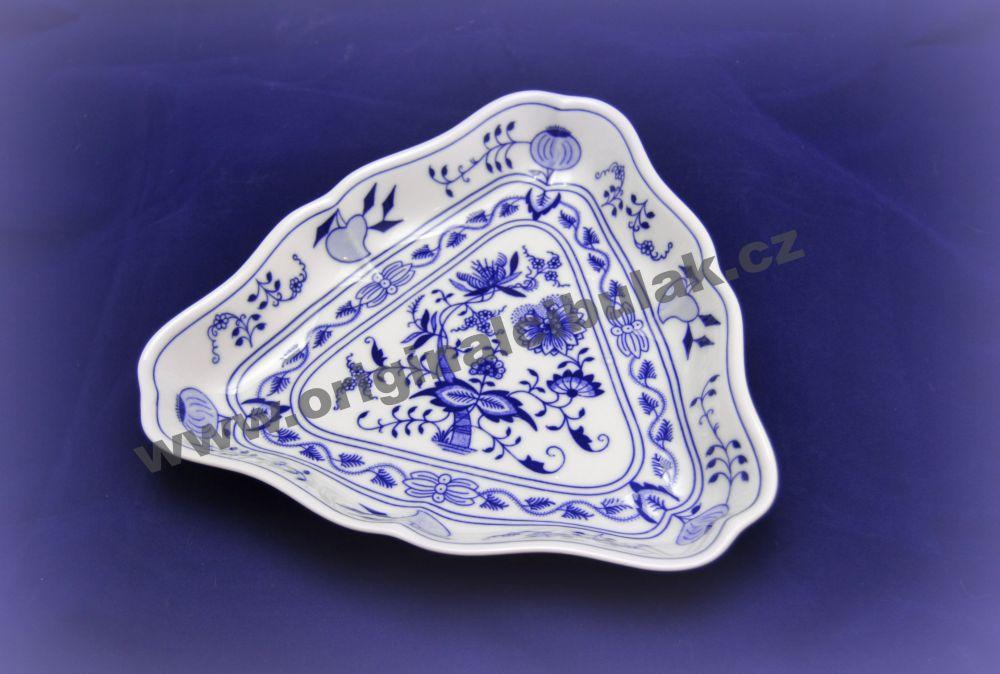Cibulák mísa salátová tříhranná 24 cm originální cibulákový porcelán Dubí, cibulový vzor, 1.jakost