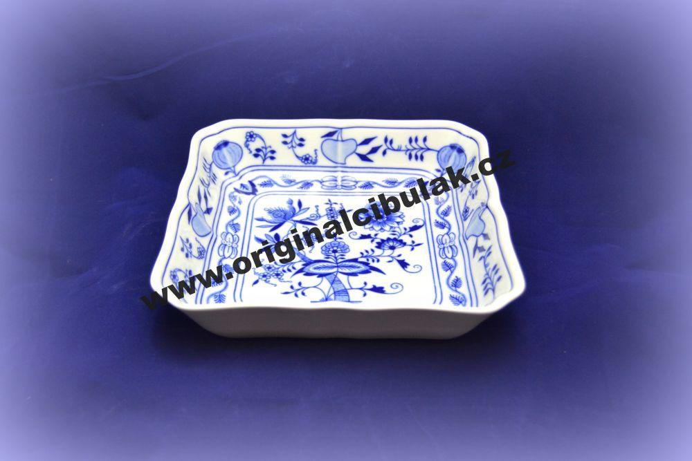 Cibulák mísa salátová čtyřhranná 21 cm originální cibulákový porcelán Dubí, cibulový vzor,