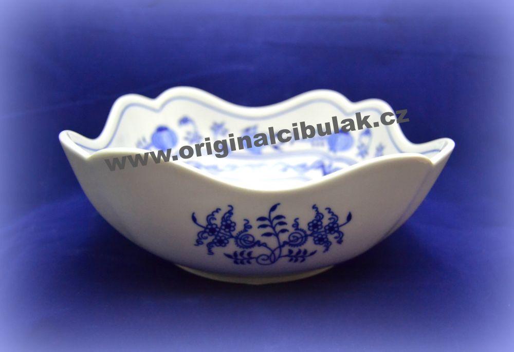 Cibulák mísa salátová čtyřhranná vysoká 21 cm originální cibulákový porcelán Dubí, cibulový vzor,
