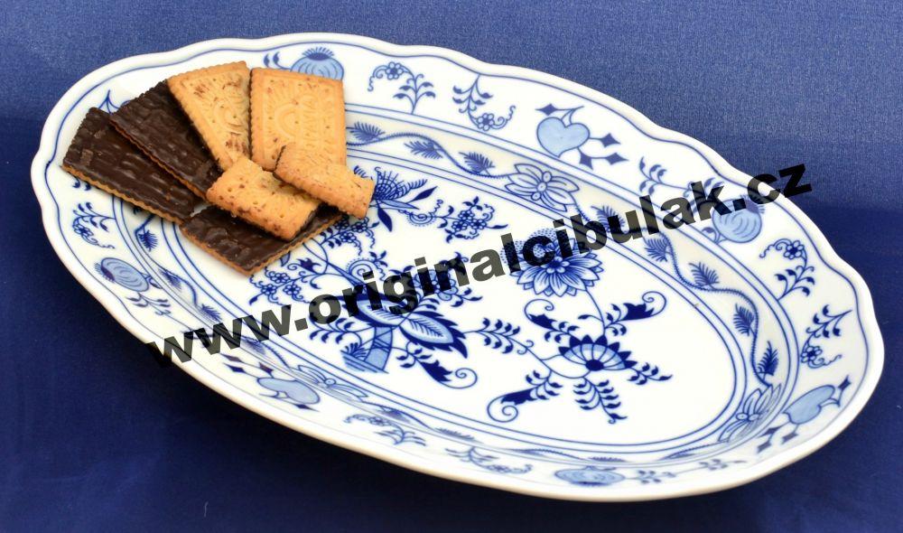 Cibulák mísa oválná 35 cm originální cibulákový porcelán Dubí, cibulový vzor,