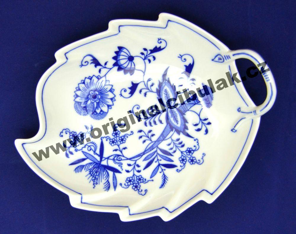 Cibulák mísa list 22 cm originální cibulákový porcelán Dubí, cibulový vzor,