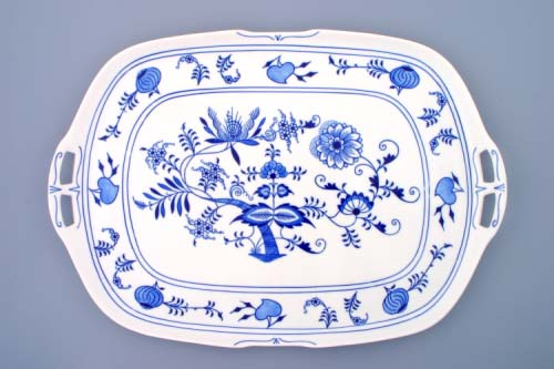 Cibulák podnos čtyřhranný s uchy 48 cm originální cibulákový porcelán Dubí, cibulový vzor,