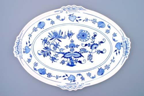 Cibulák podnos oválný, 42 cm, originální cibulákový porcelán Dubí, cibulový vzor,