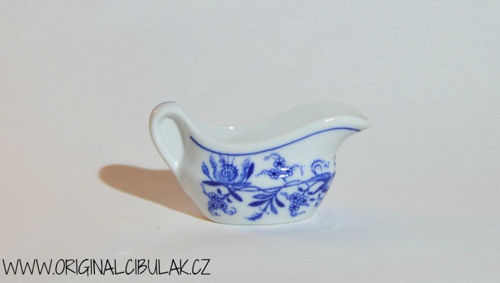 Cibulák omáčník oválný bez podstavce s uchem 0,05 l originální cibulákový porcelán Dubí, cibulový vzor,