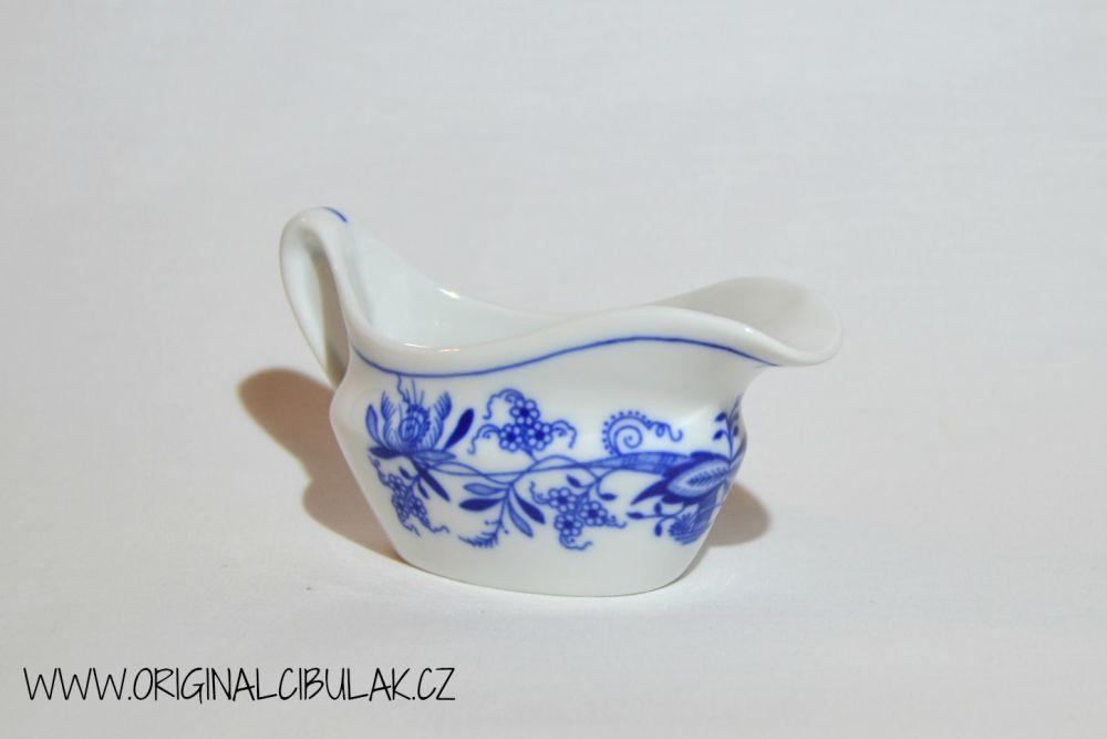 Cibulák omáčník oválný bez podstavce s uchem 0,10 l, originální cibulákový porcelán Dubí, cibulový vzor,