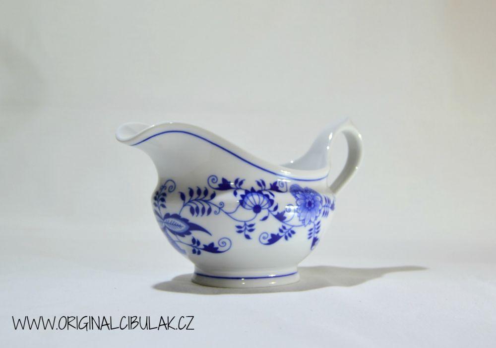 Cibulák omáčník oválný bez podstavce s uchem 0,30 l originální cibulákový porcelán Dubí, cibulový vzor,