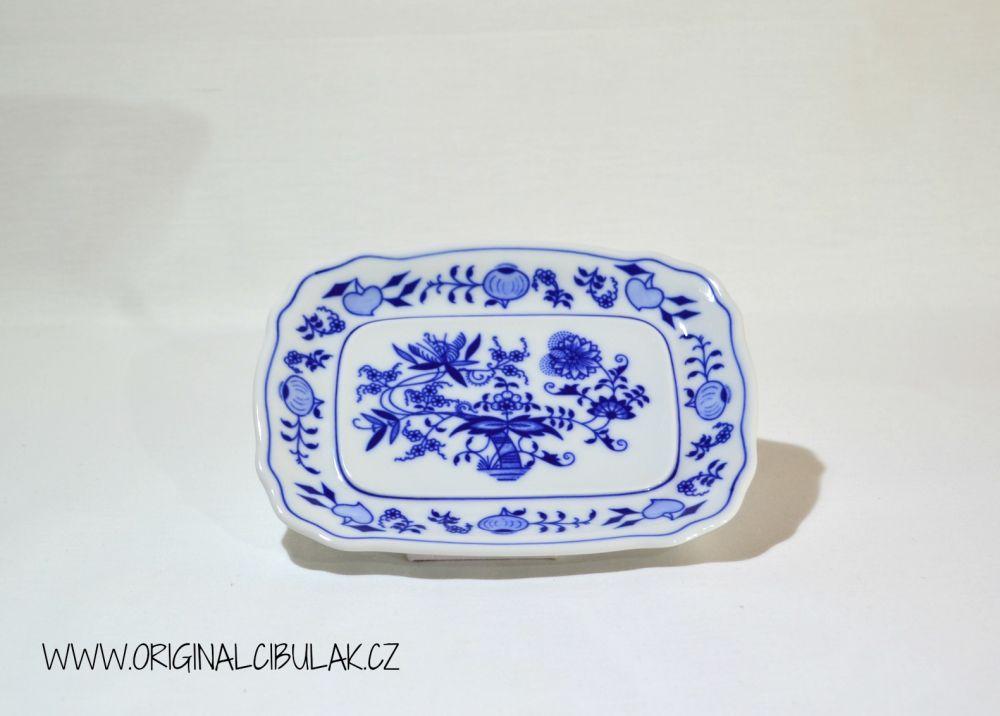 Cibulák Máslenka hranatá malá spodek 17 cm originální cibulákový porcelán Dubí, cibulový vzor,