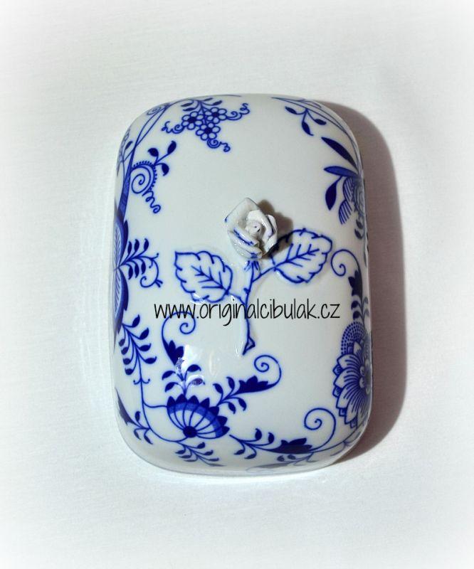 Cibulák Máslenka hranatá velká - vršek, 15 cm, originální cibulákový porcelán Dubí, cibulový vzor,