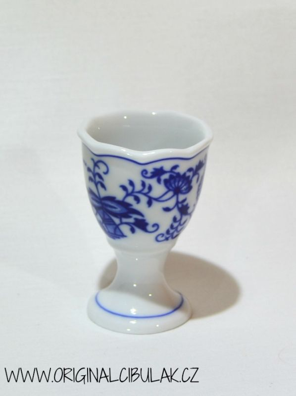 Cibulák kalíšek na vejce bez podstavce originální cibulákový porcelán Dubí, cibulový vzor,