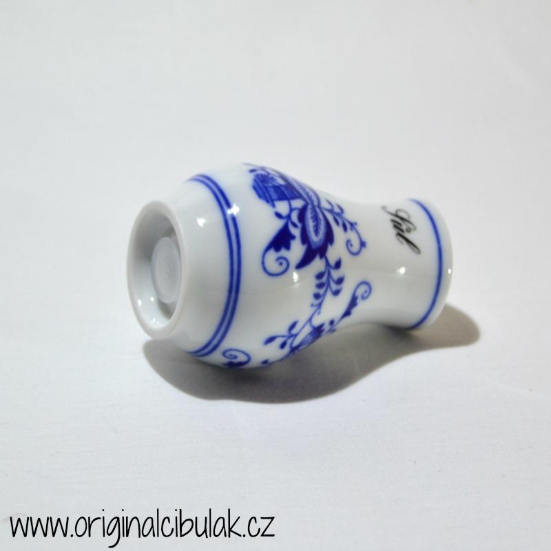 Cibulák slánka sypací s nápisem Sůl 5 cm originální cibulákový porcelán Dubí, cibulový vzor, 1.jakost