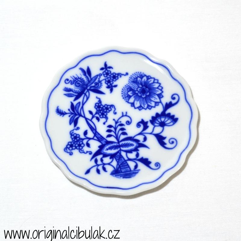 Cibulák podložka pod sklenici 10 cm originální cibulákový porcelán Dubí, cibulový vzor,