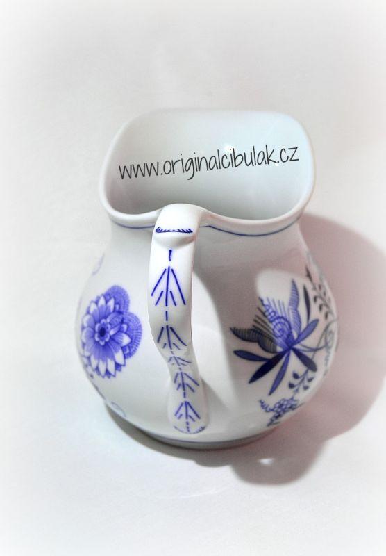Cibulák džbán baňatý 1,10 l, originální cibulákový porcelán Dubí, cibulový vzor,