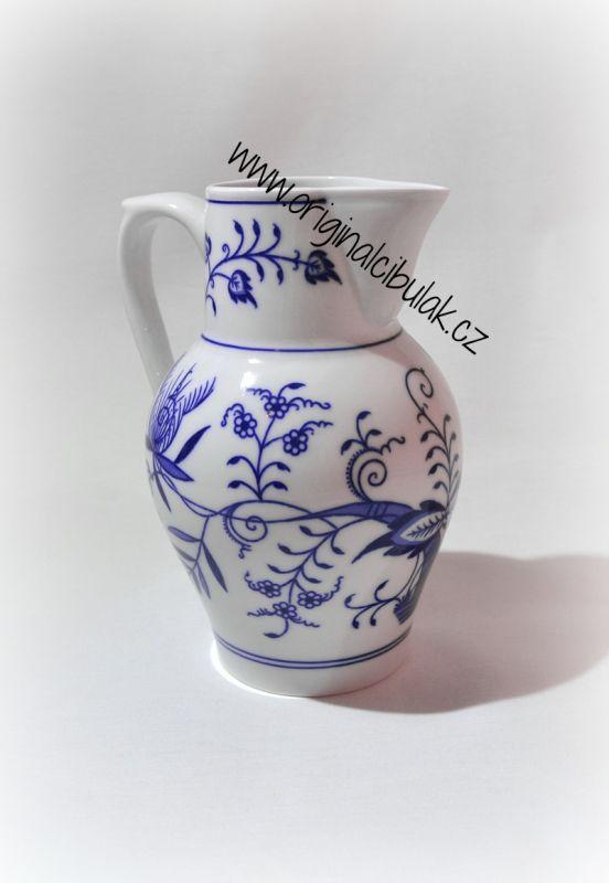 Cibulák džbán vysoký 0,90 l, originální cibulákový porcelán Dubí, cibulový vzor,