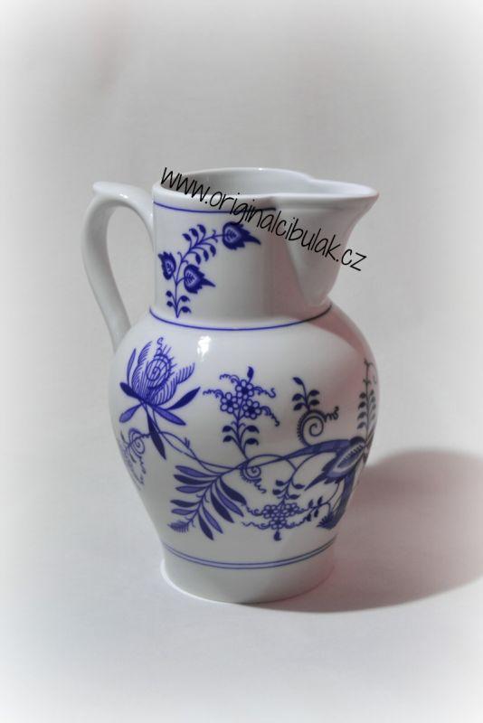 Cibulák džbán vysoký 1,50 l, originální cibulákový porcelán Dubí, cibulový vzor,