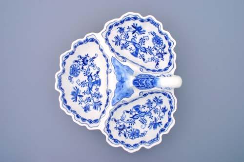 Cibulák kabaret 3-dílný, originální cibulákový porcelán Dubí, cibulový vzor,