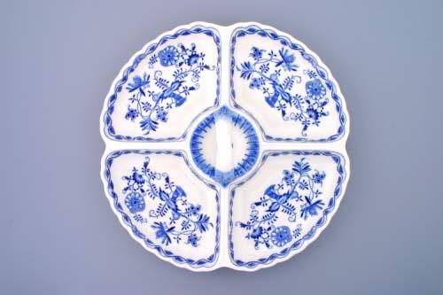 Cibulák kabaret 4-dílný, originální cibulákový porcelán Dubí, cibulový vzor,