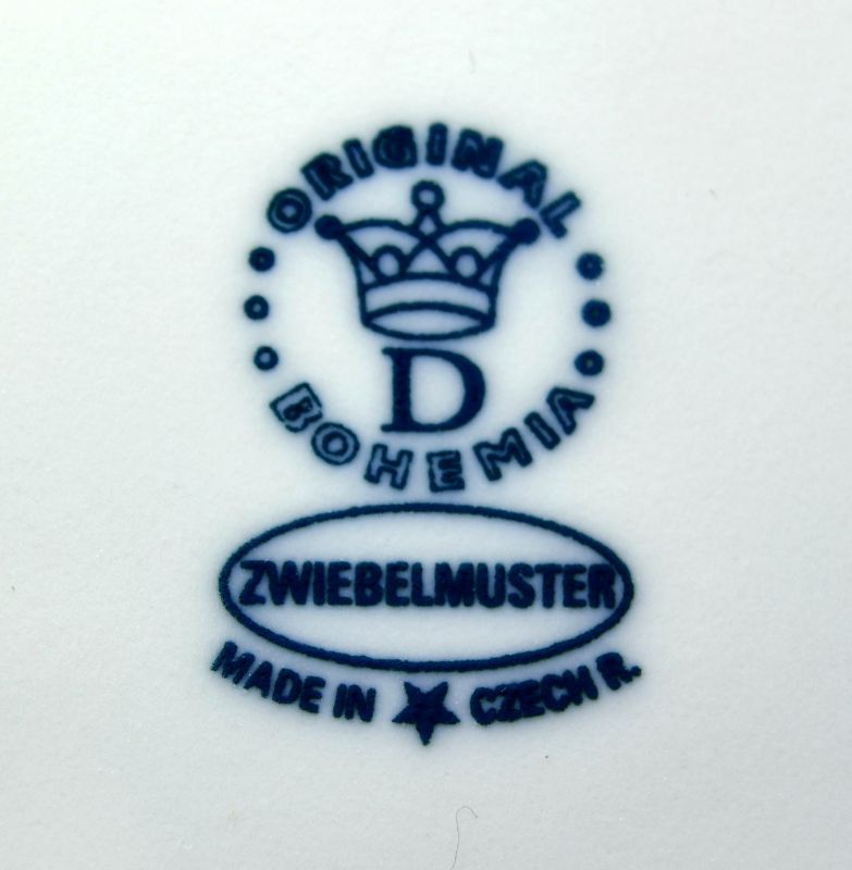 Cibulák korbel hladký, originální cibulákový porcelán Dubí, cibulový vzor,