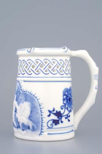Cibulák korbel prolamovaný s reliéfem 0,40 l originální cibulákový porcelán Dubí, cibulový vzor,
