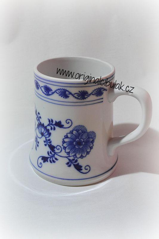 Cibulák korbel holba 0,50 l originální cibulákový porcelán Dubí, cibulový vzor,