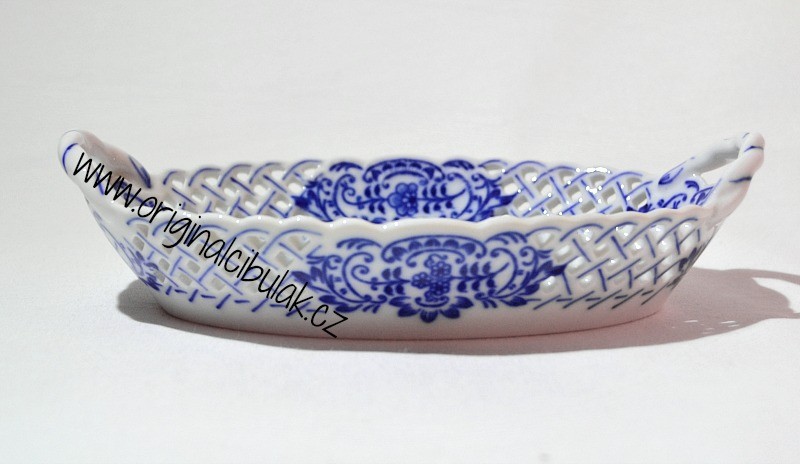 Cibulák košík prolamovaný 17 cm, originální cibulákový porcelán Dubí, cibulový vzor,