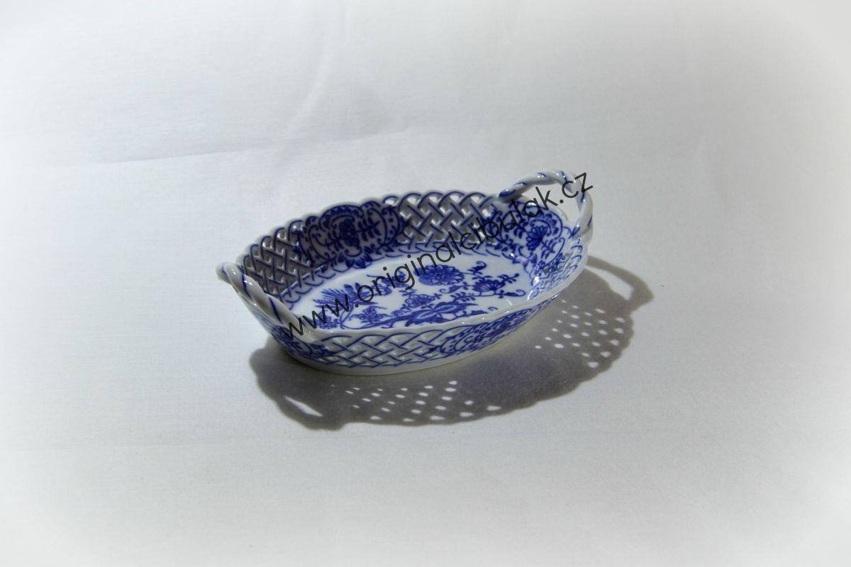 Cibulák košík prolamovaný 19 cm originální cibulákový porcelán Dubí, cibulový vzor,