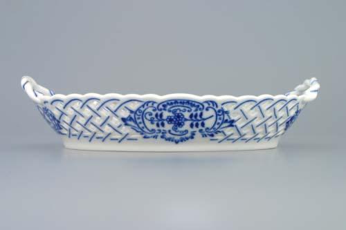 Cibulák košík prolamovaný 21 cm originální cibulákový porcelán Dubí, cibulový vzor,