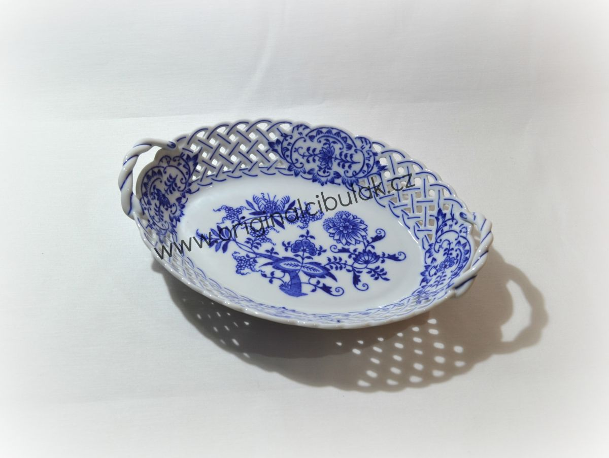 Cibulák košík prolamovaný 24 cm originální cibulákový porcelán Dubí, cibulový vzor,