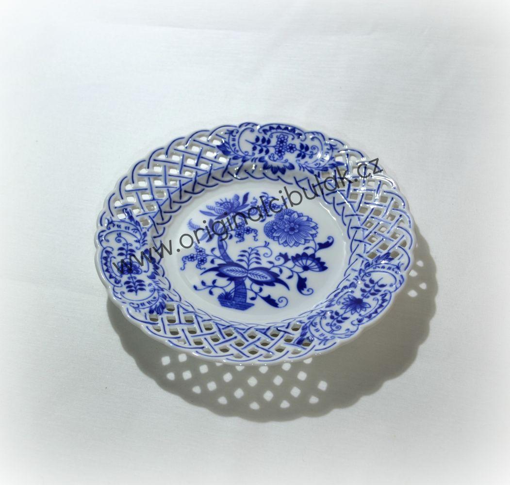 Cibulák talíř prolamovaný 18 cm originální cibulákový porcelán Dubí, cibulový vzor,