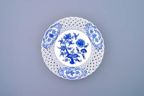 Cibulák talíř prolamovaný 24 cm originální cibulákový porcelán Dubí, cibulový vzor,