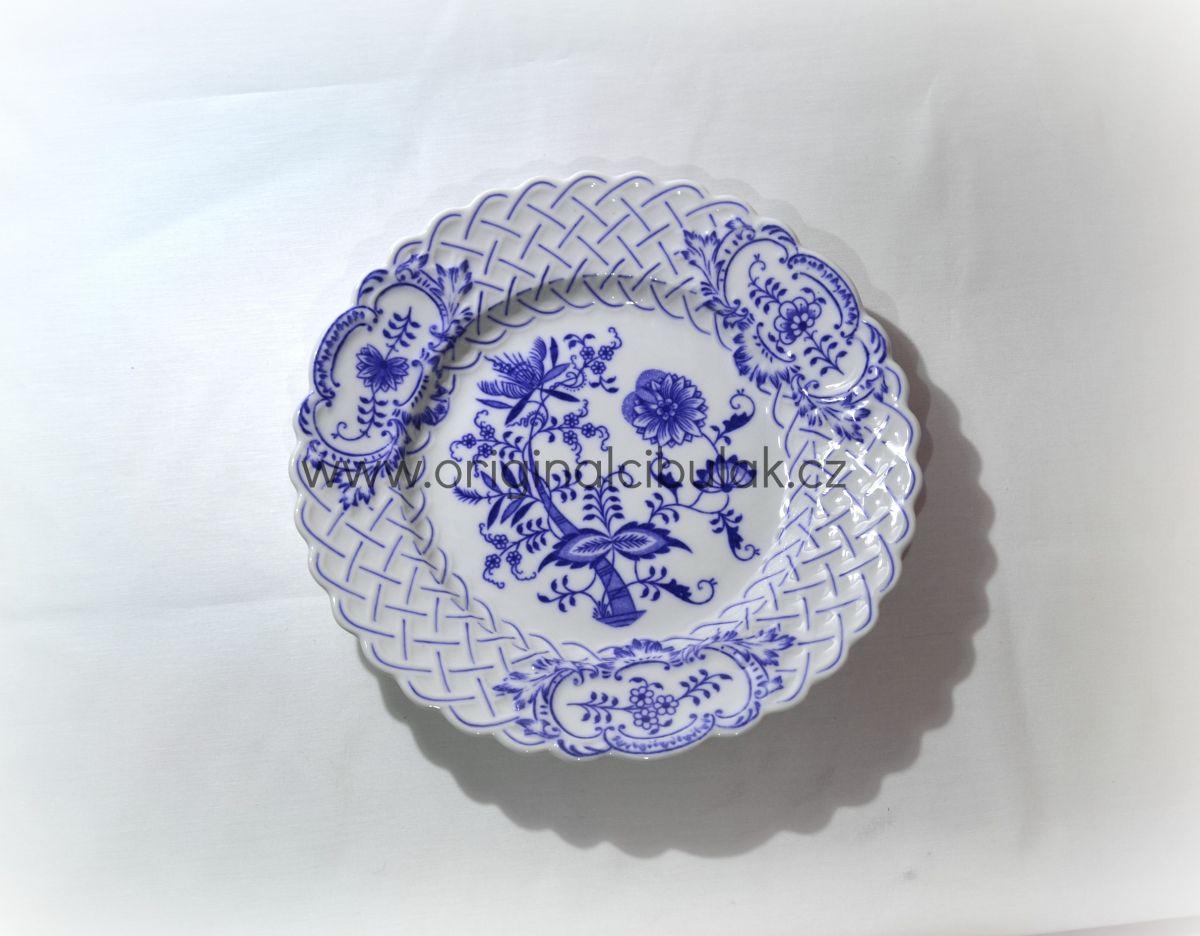 Cibulák talíř reliéfní 27 cm originální cibulákový porcelán Dubí, cibulový vzor,