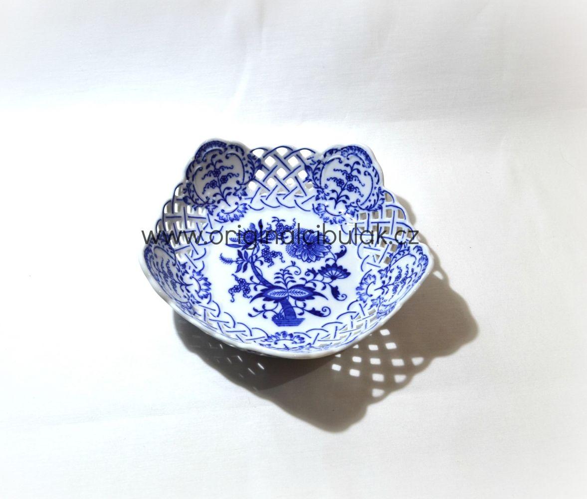 Cibulák mísa pětihranná prolamovaná 19 cm originální cibulákový porcelán Dubí, cibulový vzor,