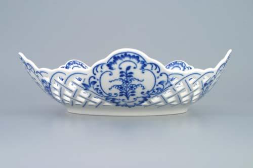Cibulák mísa pětihranná prolamovaná 24 cm originální cibulákový porcelán Dubí, cibulový vzor,