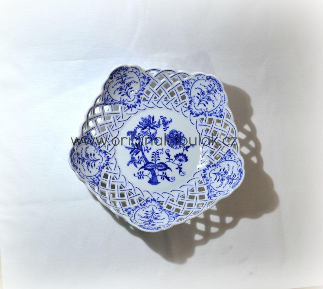 Cibulák mísa pětihranná prolamovaná 28 cm originální cibulákový porcelán Dubí, cibulový vzor,