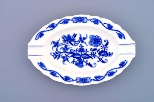 Cibulák popelník oválný 16 cm originální cibulákový porcelán Dubí, cibulový vzor,