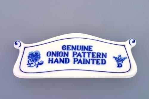 Cibulák reklamní štítek s nápisem 14 cm originální cibulákový porcelán Dubí, cibulový vzor,