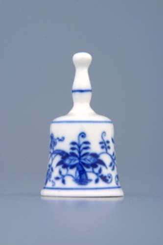 Cibulák zvonek mini 6 cm originální cibulákový porcelán Dubí, cibulový vzor,