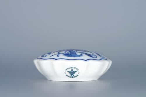 Cibulák dóza na sladidlo kulatá 7 cm originální cibulákový porcelán Dubí, cibulový vzor,