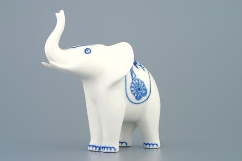 Cibulák slon I jednoduchá dekorace 12 cm originální cibulákový porcelán Dubí, cibulový vzor,