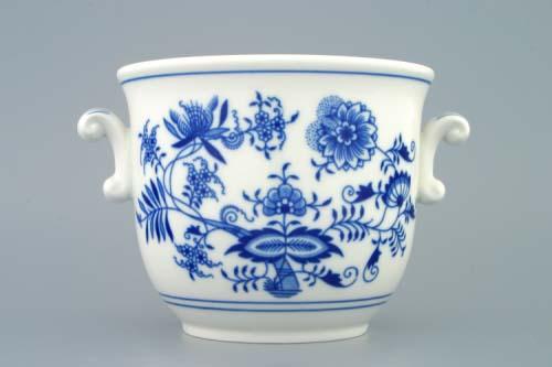 Cibulák květináč s uchy bez nožky 16 cm originální cibulákový porcelán Dubí, cibulový vzor,